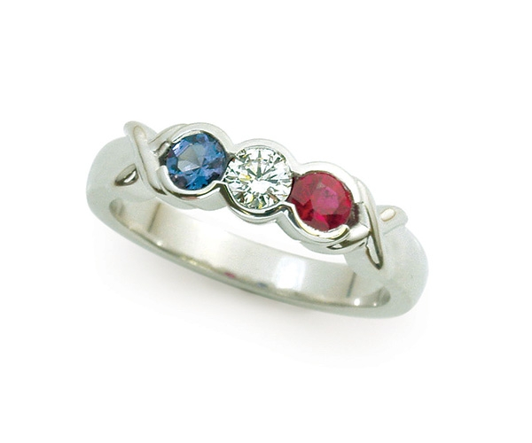 Alexandrite, Diamond and Ruby in 14K White