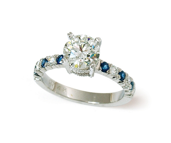 Round Brilliant and Sapphire Engagement Ring