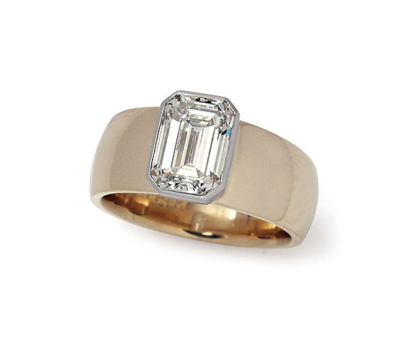 Bezel-set Emerald Cut