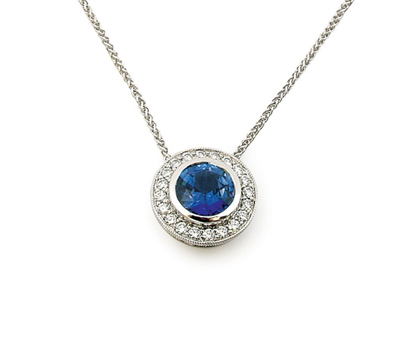 14k Blue Sapphire and Round Brilliant Diamond Pendant