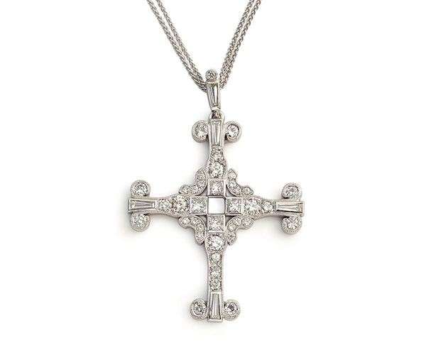 14k Round Brilliant, Princess Cut, and Baguette Diamond Cross Pendant