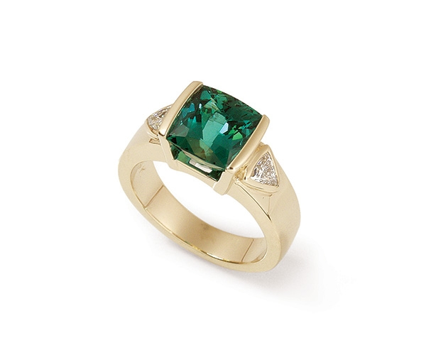 Green Tourmaline and Trillion Cut Diamonds in 14k Yellow