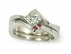 Channel-set Square and Ruby Engagement Ring