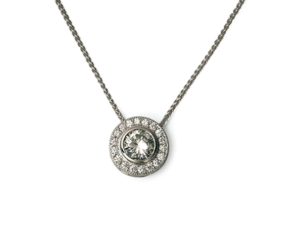 14k Round Brilliant Diamond Pendant
