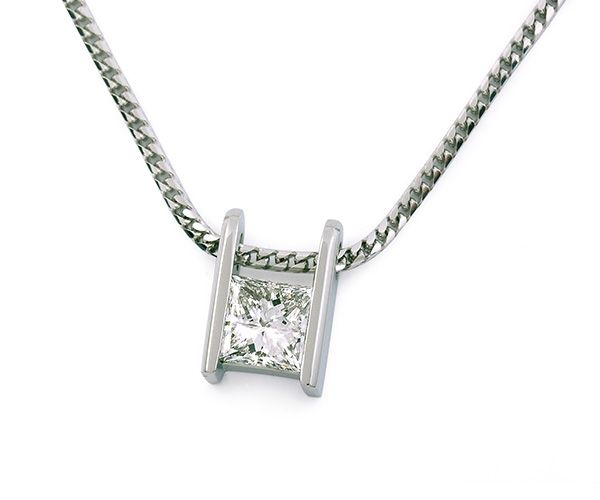 Princess Cut Diamond Channel-set Pendant