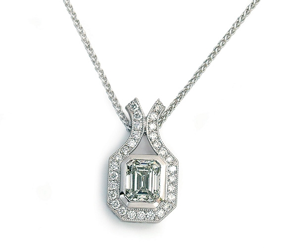 Emerald Cut and Round Brilliant Diamond Pendant