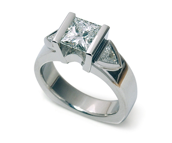 Princess Cut and Trillion Three Stone Ring