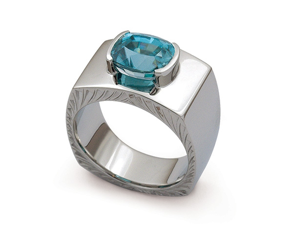Blue Zircon Set in Platinum with Hand-engraving