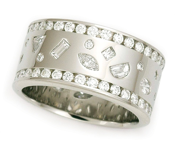Round and Fancy Shapes in Bezel and Channel-set Eternity Band