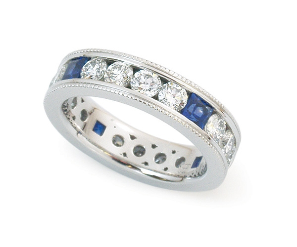 Channel-set Round Brilliant and Blue Sapphire Eternity Band