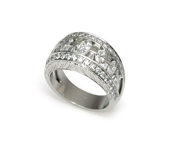 Hand-engraved Band with Marquise, Round Brilliant, and Baguette