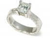 Princess Cut Solitaire with Hand-engraved Band