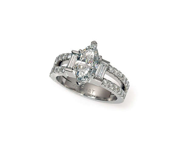 Three Stone Marquise and Baguette with Round Brilliant Band