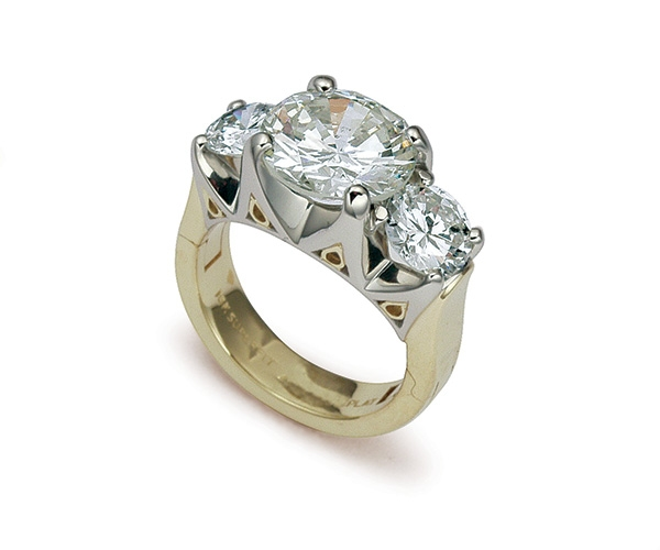 Round Brilliant Three Stone Engagement Ring