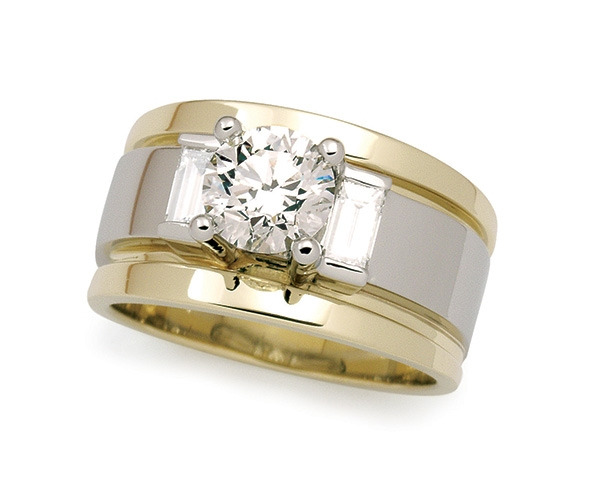 Three Stone Round Brilliant and Baguette Engagement Ring