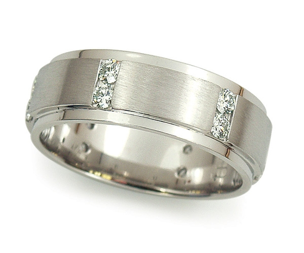 Men's Band with Brush and Polish Finish with Channel-set Diamonds in Platinum