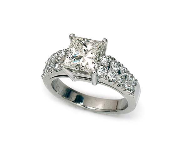 Princess Cut Center with Round Brilliant Band
