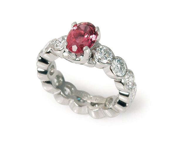 Pink Tourmaline and Diamonds Set in Platinum