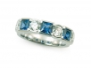 Round Brilliant and Blue Sapphire Band
