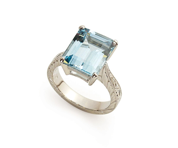 Aquamarine Set in Platinum with Hand-engraving