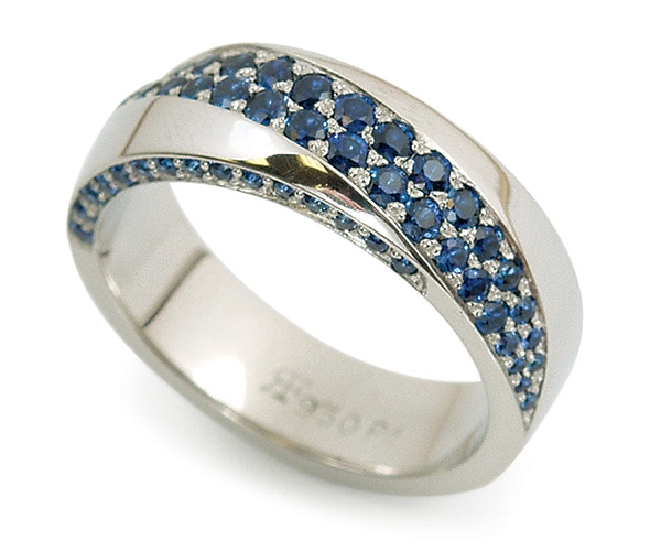 Men's Band with Blue Sapphires Set in Palladium