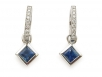 14k Princess Cut Blue Sapphire and Round Brilliant Diamond Earrings
