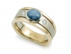 Men's Band with Blue Star Sapphire and Diamonds in 14k Two-tone