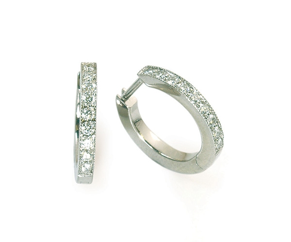 Round Brilliant Bead-set Diamond Hoops