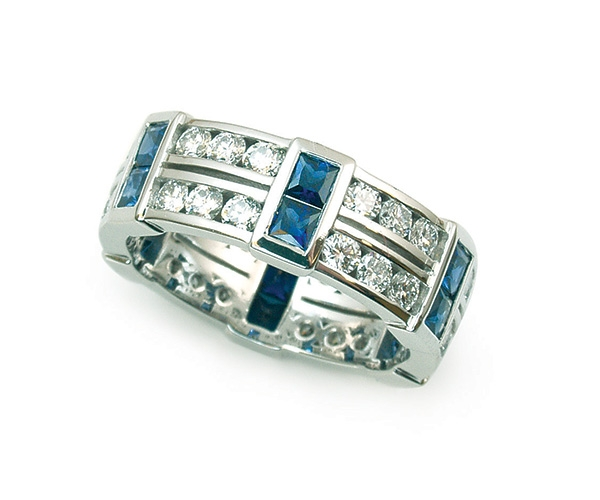 Blue Sapphires and Diamonds Set in Platinum Eternity Band