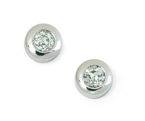 Round Brilliant Bezel-set Diamond Earrings