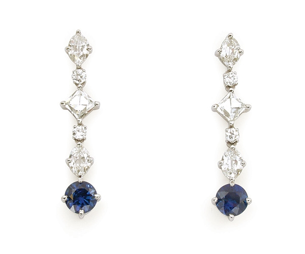Platinum Antique Cut Diamonds and Sapphire Earrings