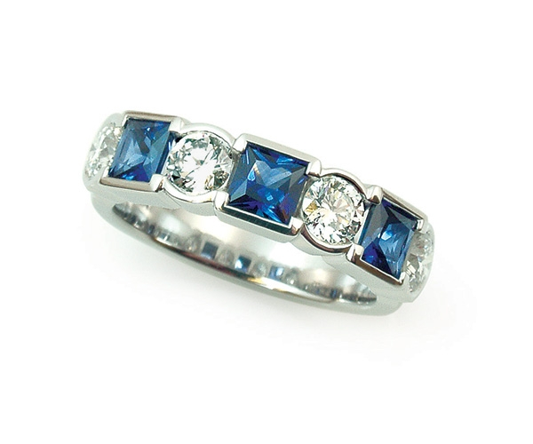 Blue Sapphire and Diamond Set in Platinum