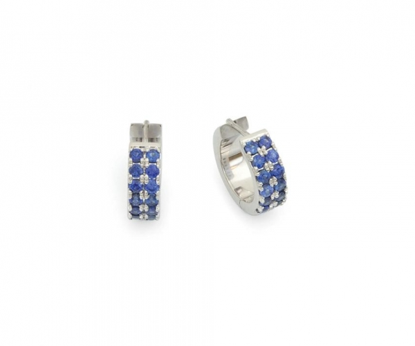Double Row Prong-set Sapphire Hoop Earrings