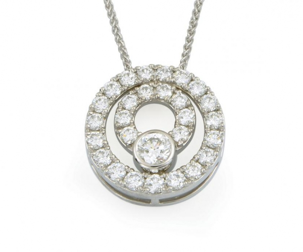 14k Round Brilliant Diamond Double-Circle Pendant