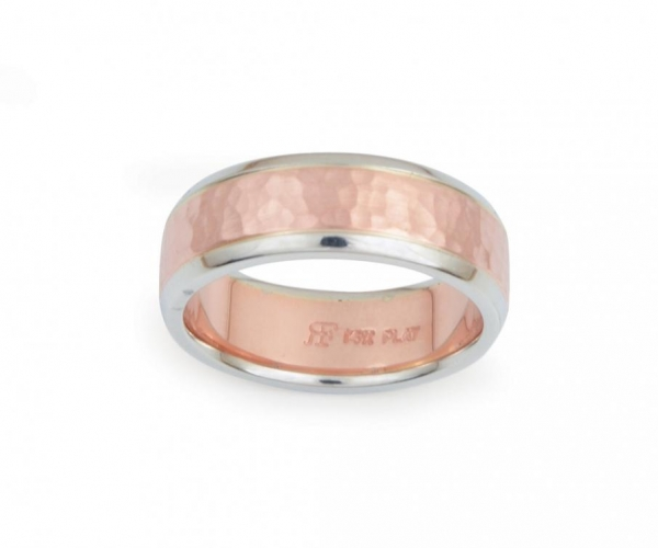 Men's Band With Hammer-Finish in 14k Rose and Platinum