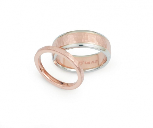 Rose Gold and Platinum Men's Band and Hammer-Finish Rose Gold Wedding Band