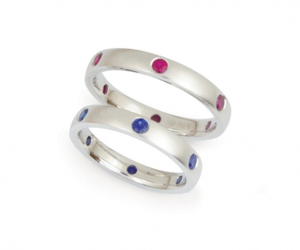 Rubies and Sapphires in White Gold with Bead-Blast Finish