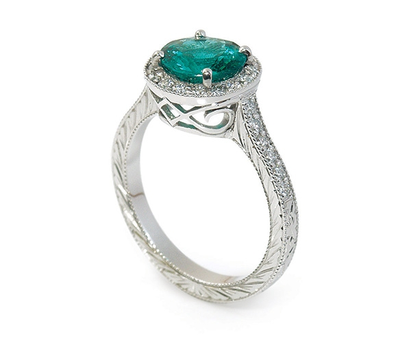 Emerald and Diamonds Set in Platinum