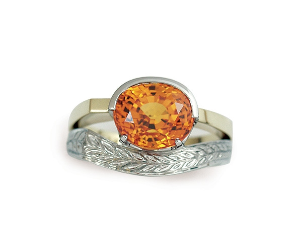Orange Sapphire Set in 18k White and Yellow