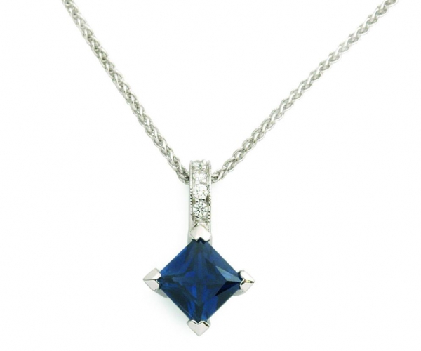 14k White Gold Blue Sapphire with Diamonds