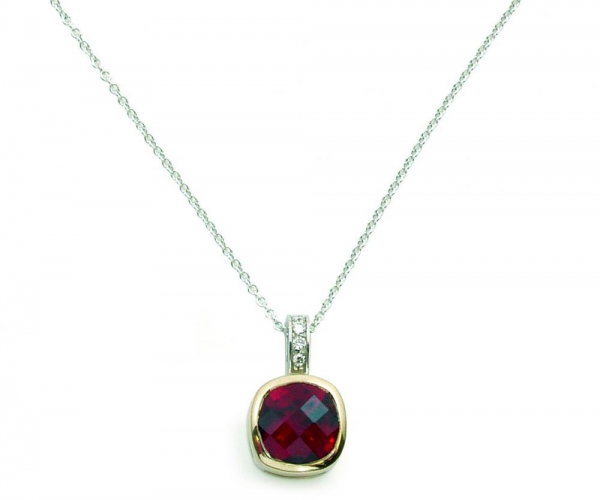 14k White and Yellow Gold Garnet with Diamonds