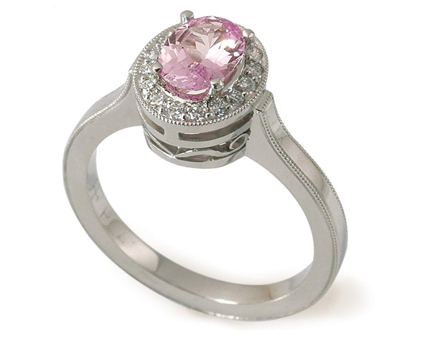 Pink Sapphire and Diamonds Set in Platinum