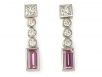 Pink Sapphire and Round Brilliant Diamond Bezel-set Earrings