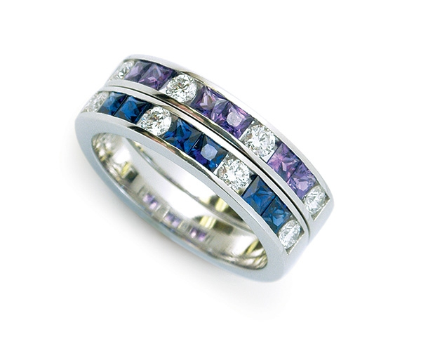 Blue and Purple Sapphire with Diamond Eternity Bands in Platinum