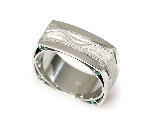 Men's Band with Emeralds Set in Platinum and Palladium