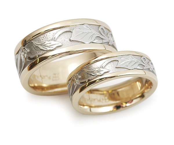 Two-tone Platinum and 18k Yellow Bands with Hand-engraving