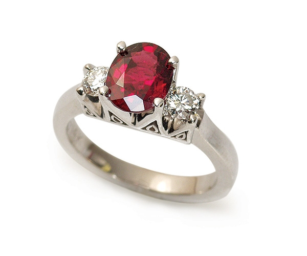 Red Spinel and Diamond Three Stone Ring in 14k White