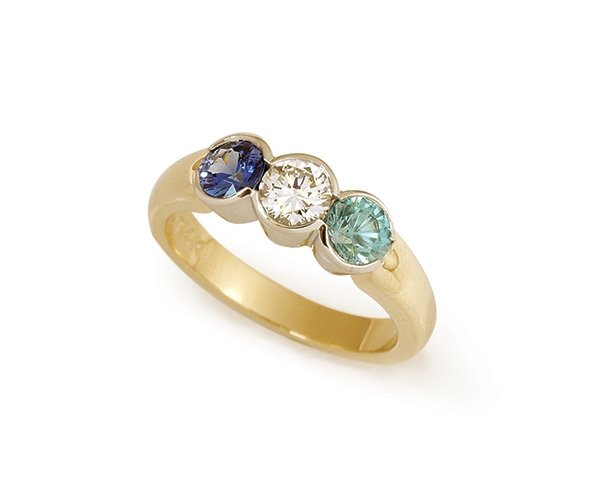 Blue Sapphire, Diamond and Aquamarine Ring