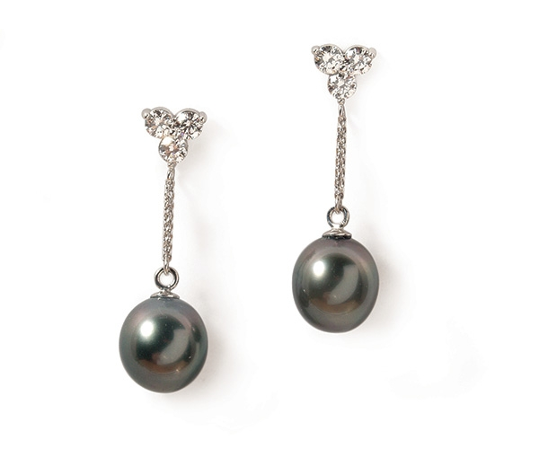 Tahitian Pearl and Round Brilliant Diamond Earrings