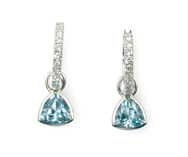 Blue Topaz Bezel Set with Round Brilliant Diamond Hoops